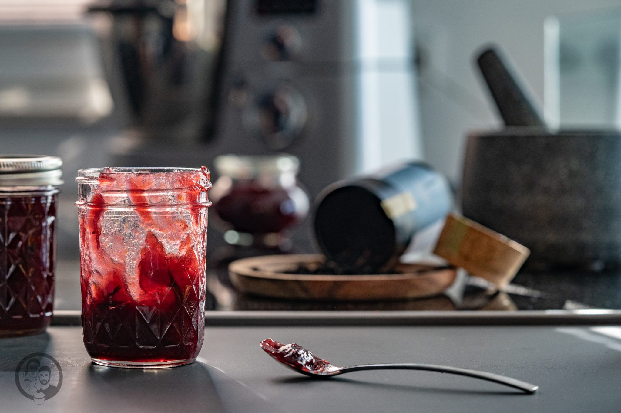Pflaumenmarmelade im Glas