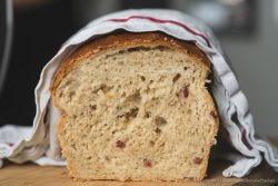 Sauerkraut Dinkelbrot Speck 10 | Heute haben wir wieder ein Rezept für euch, das wir mit Erdnüssen zubereitet haben. Und zwar ein selbstgebackenes Brot. Allerdings ist das ein Rezept, das wir schon im Mai, als wir auf unserer Reise mit dem Wohnmobil durch die Bretagne unterwegs waren, zum ersten Mal gebacken haben. Denn auch unterwegs backen wir unser Brot am Liebsten selber! Herausgekommen ist ein richtig tolles Frühstücksbrot und wir wussten, dass wir das unbedingt nochmal in unserem heimischen Offen neu backen müssen, damit ihr das leckere Brot auch nach unserem Rezept selber backen könnt.