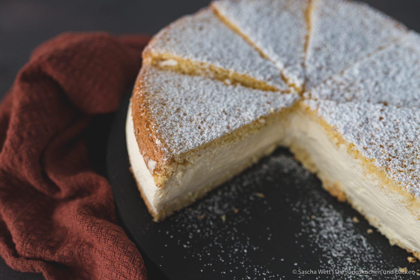 Käse-Sahne-Torte, im Anschnitt