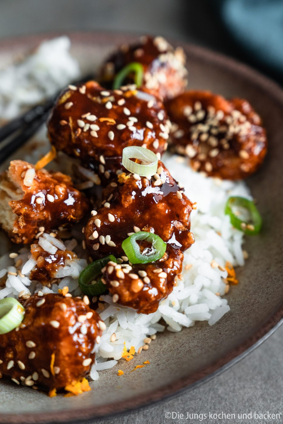 Orange Chicken 11 | Wie steht ihr zu herzhaften Gerichten mit einer süßlichen Komponente? Ich liebe es!!! Meine erste Berührungspunkte damit hatte ich im asiatischen Essen. Als es das erste mal ein mildes Curry mit Früchten bei mir gab, war es um mich geschehen ... na ja, es ist sogar ein wenig mehr als das. Sobald ich etwas auf einer Speisekarte erblicke, das mit süßen, fruchtigen Aromen gemacht ist, weiß Torsten sofort, was ich bestelle. Genau so ging es mir bei unserem heutigen Rezept, das mich von der Karte anlächelte und seither kochen wir beide es immer wieder gerne selber in unserer Küche - Orange Chicken!
