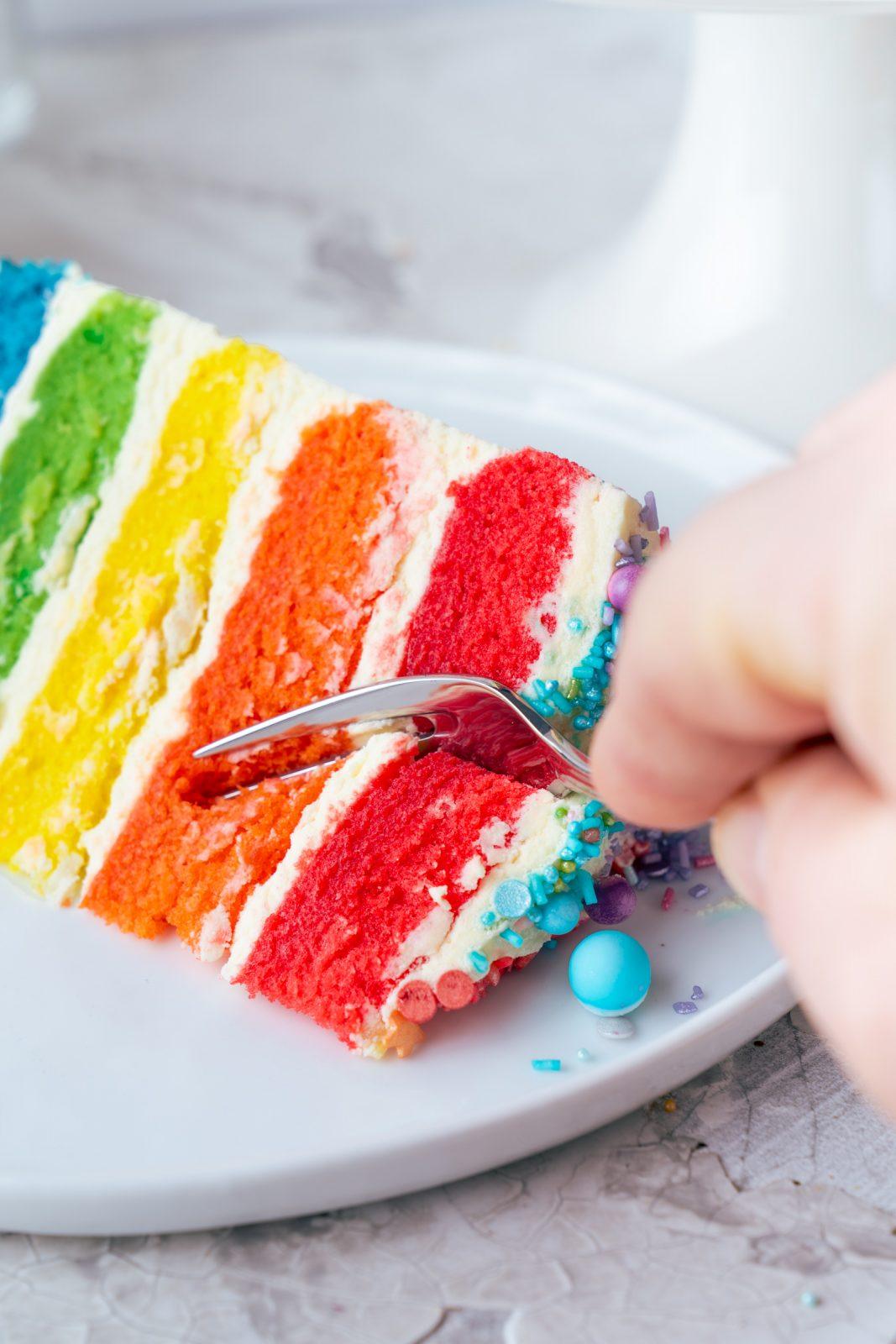 Regenbogen Torte 48 | Born this way! Heute wird es bunt und das ist gut so. Der Juni ist der alljährliche Pride-Monat und 2021 hat unsere Regenbogen-Torte ein Makeover defintiv verdient, denn ihr seid schon seit 2017 ganz verrückt nach diesem absoluten Leckerbissen! Aber was hat es mit der Regenbogenflagge eigentlich genau auf sich? Wir werden dem mal ein wenig auf den Grund gehen und dabei gibt es ein großes Stück Rainbow Cake.